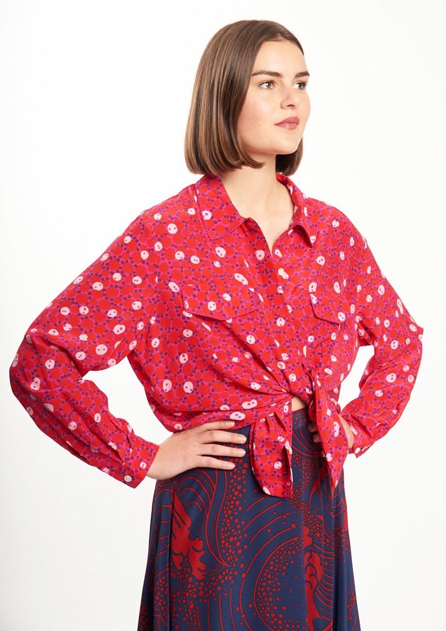 BASIC SILK BLOUSE - RED-2