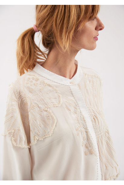 EMBROIDERED SILK BLOUSE - MILK