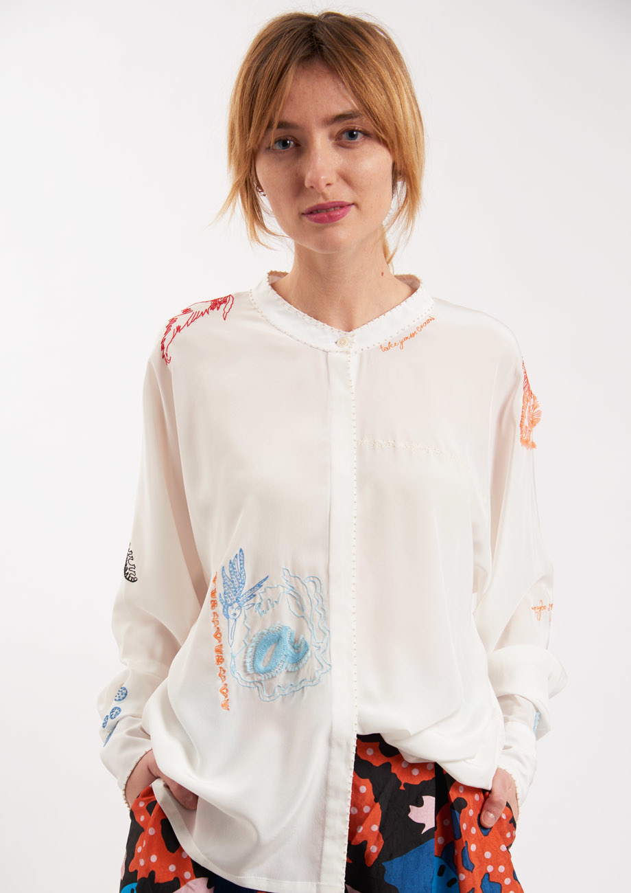 EMBROIDERED SILK BLOUSE - COLORFUL ON MILK-2