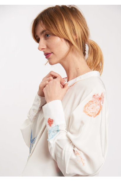 EMBROIDERED SILK BLOUSE - COLORFUL ON MILK