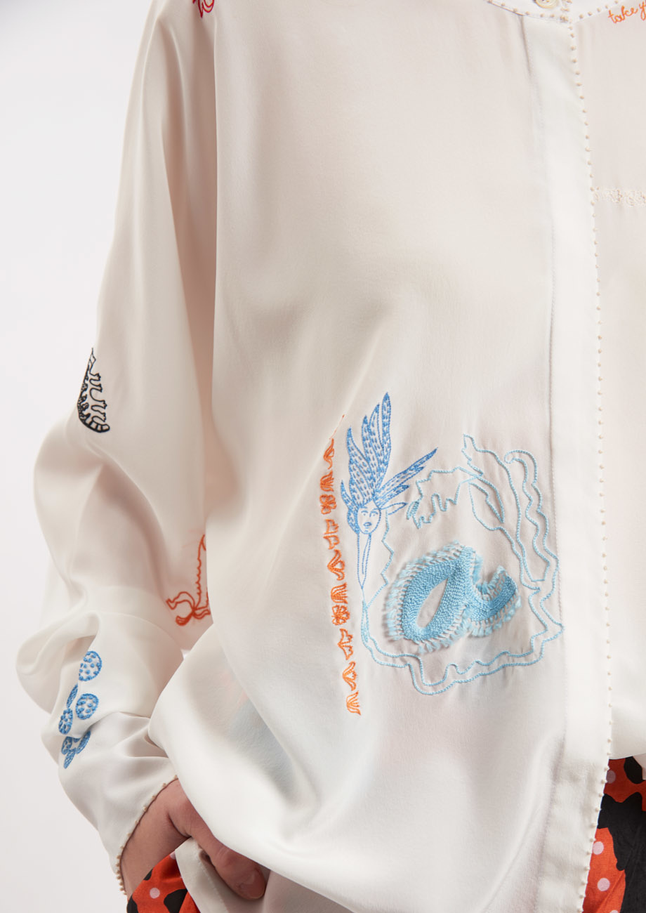 EMBROIDERED SILK BLOUSE - COLORFUL ON MILK-4