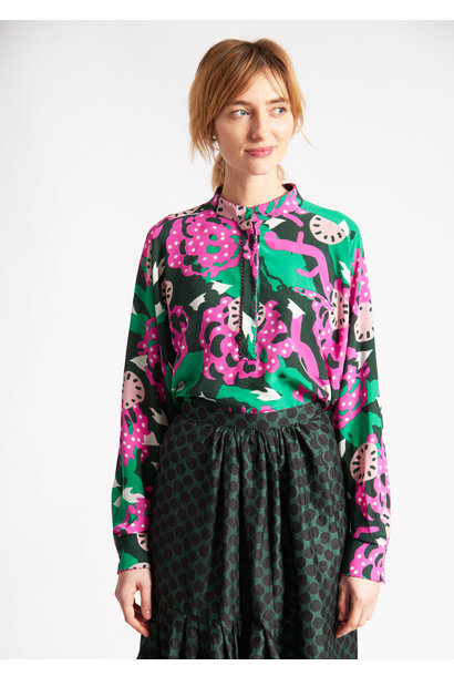 DROP OVER SILK BLOUSE- FLOWERS GREEN PINK