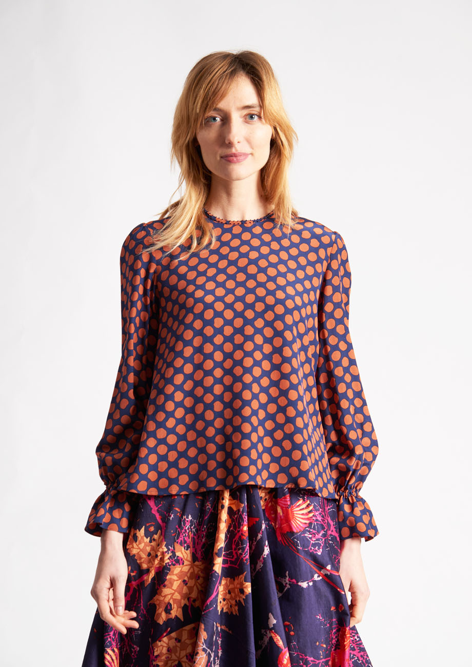 VOLANT SILK BLOUSE - DOTS PIMENT-2