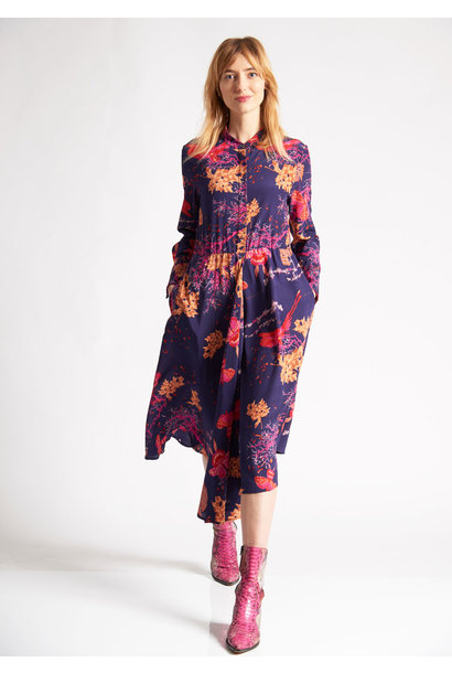 1PLEAT SILK DRESS - BRANCHES VIOLET