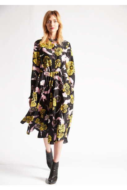1PLEAT SILK DRESS - FLOWERS BLACK ROSE YELLOW