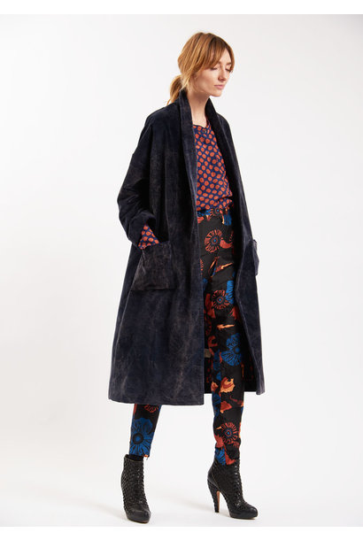 VELVET COZY COAT - NAVY WASHED