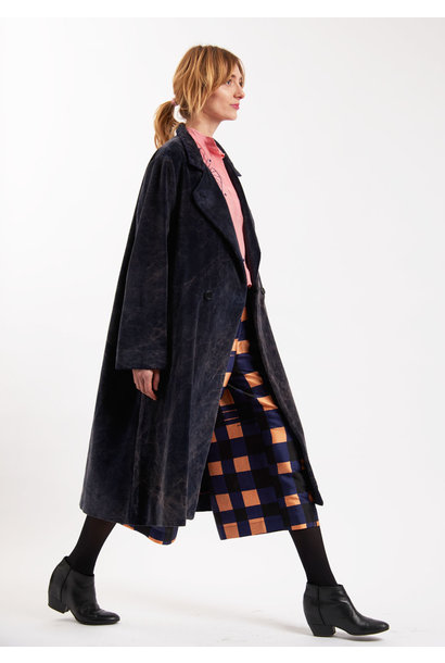 VELVET BUTTONS COAT - NAVY WASHED
