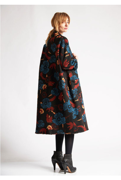 SWEAT COAT FLOWERS - BLACK MOCHA BLUE