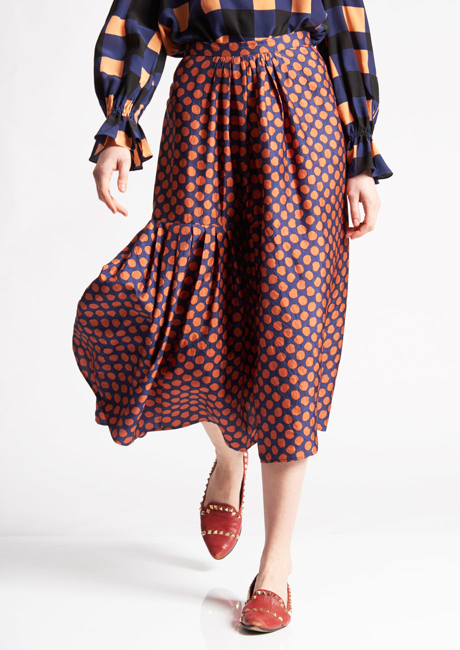 PLEATS SILK SKIRT - DOTS PIMENT-2