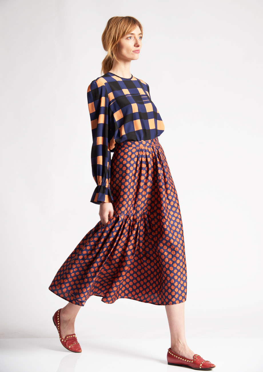 PLEATS SILK SKIRT - DOTS PIMENT-3