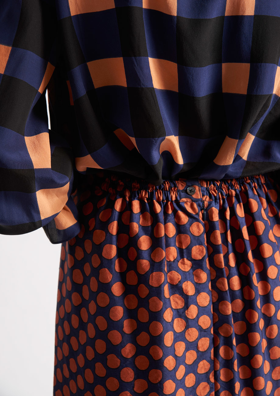 PLEATS SILK SKIRT - DOTS PIMENT-4
