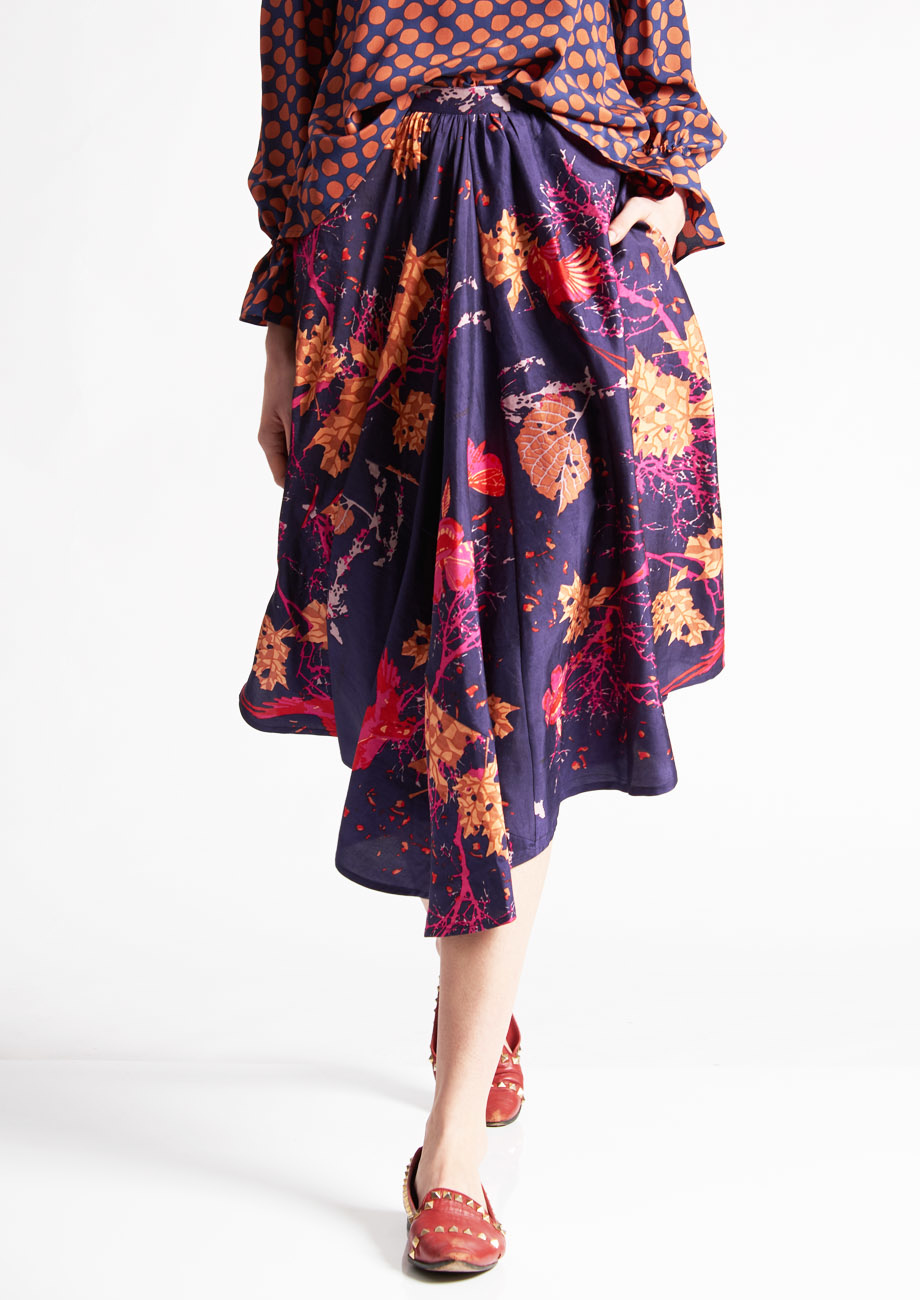 1PLEAT SILK SKIRT - BRANCHES VIOLET-2
