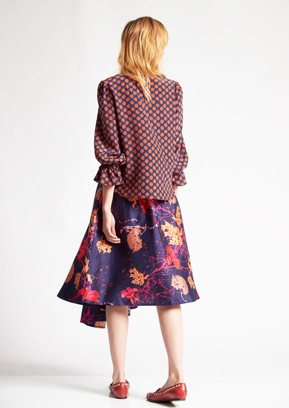 1PLEAT SILK SKIRT - BRANCHES VIOLET-3