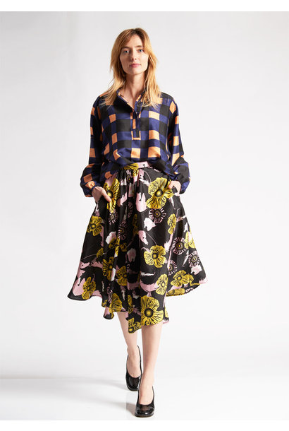 1PLEAT SILK SKIRT - FLOWERS BLACK ROSE YELLOW