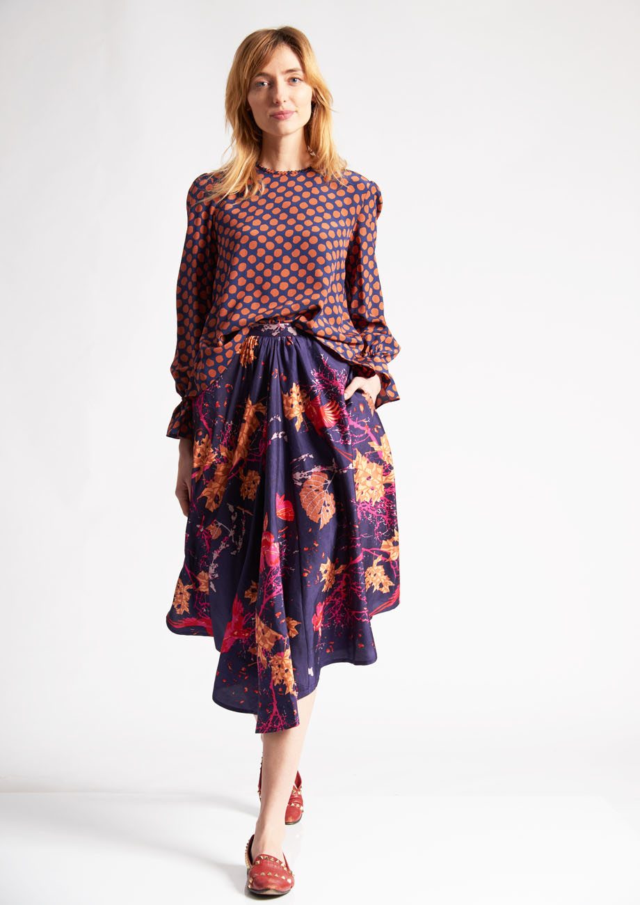 1PLEAT SILK SKIRT - BRANCHES VIOLET-1