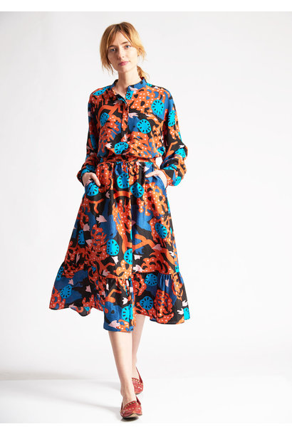VOLANT SILK SKIRT - FLOWERS BLUE BLACK ORANGE