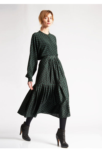 PLEATS SILK SKIRT - DOTS GREEN