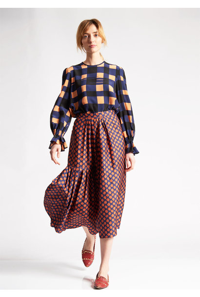 PLEATS SILK SKIRT - DOTS PIMENT