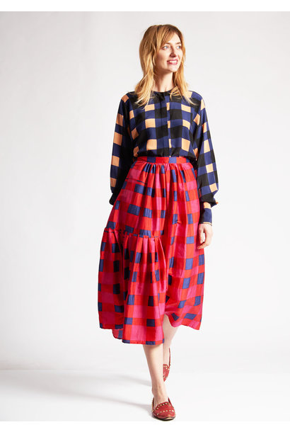 PLEATS SILK SKIRT - CHECK PINK NAVY