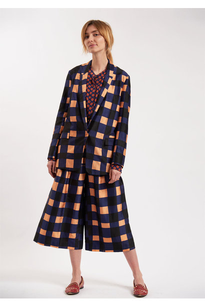 SILK BLAZER - CHECK APRICOT NAVY