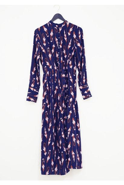 MY FAVORITE SILK DRESS LONG - FEATHERS NIGHTBLUE