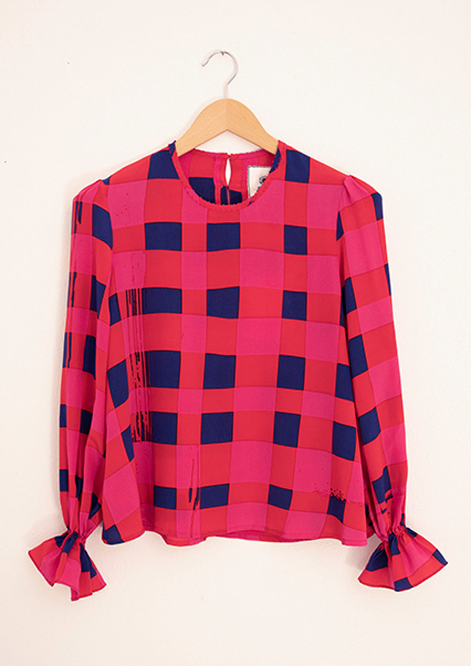 VOLANT SILK BLOUSE - CHECK PINK NAVY-3