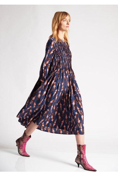 PLEATS SILK DRESS - FEATHERS NAVY