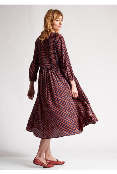PLEATS SILK DRESS - DOTS PIMENT