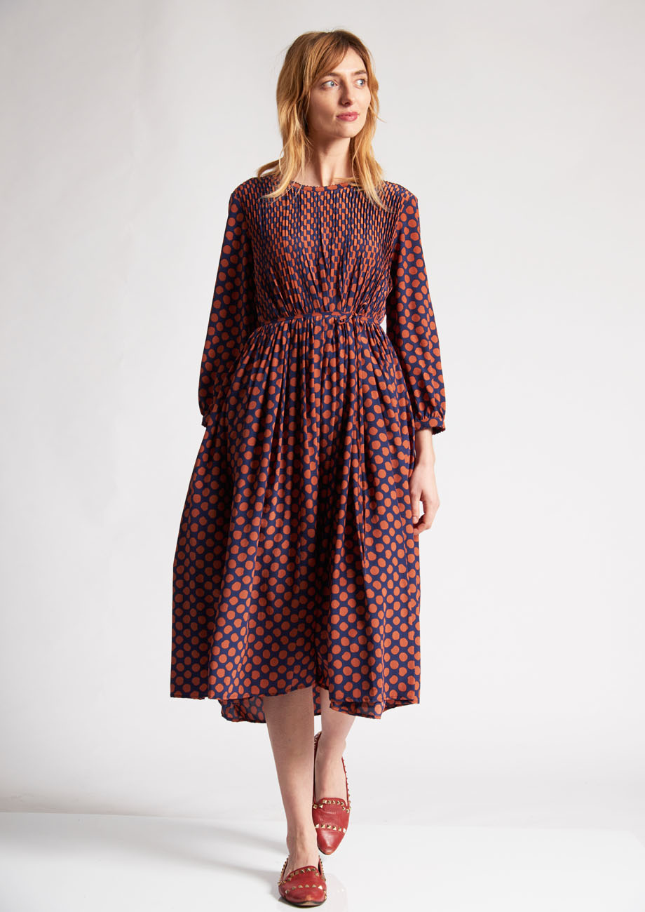 PLEATS SILK DRESS - DOTS PIMENT-2