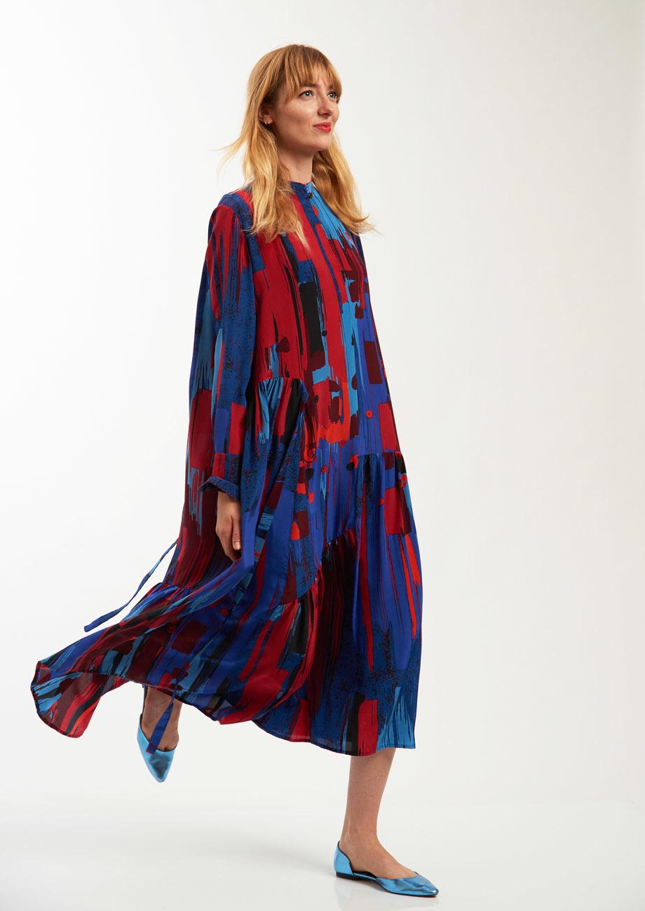 FAVORITE SILK DRESS LONG - BRUSH NIGHT-2