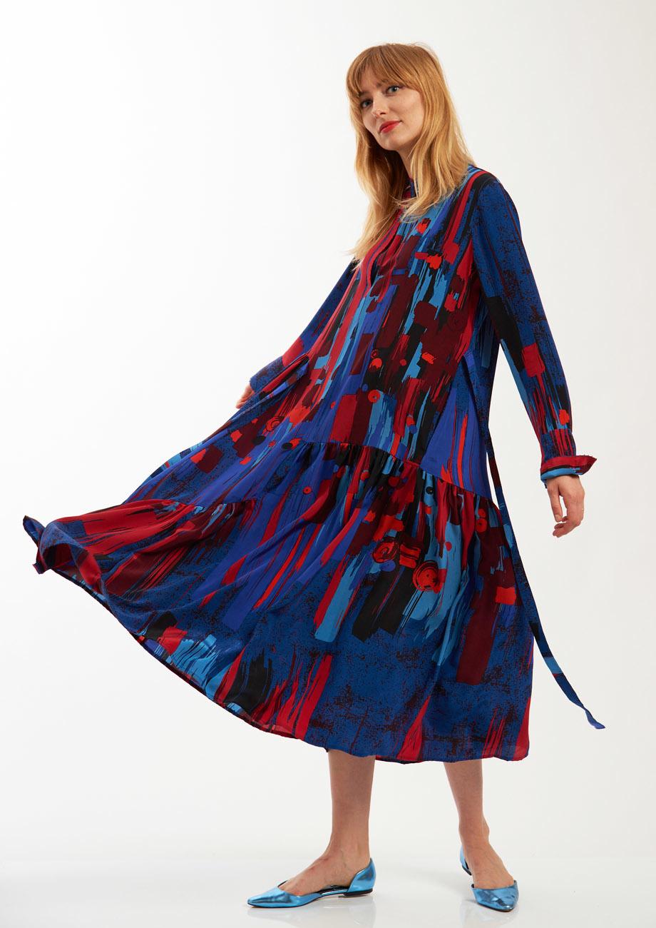 FAVORITE SILK DRESS LONG - BRUSH NIGHT-4