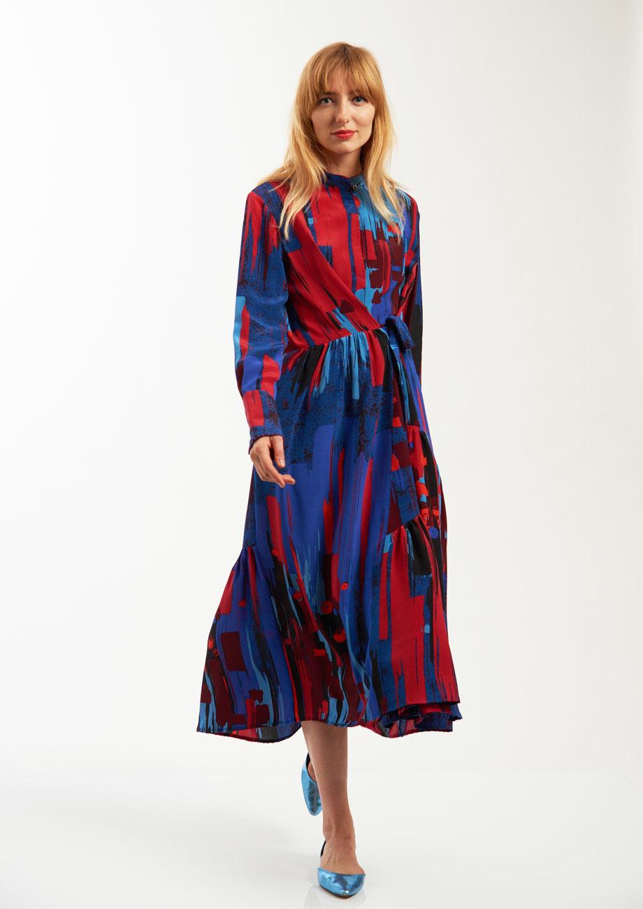FAVORITE SILK DRESS LONG - BRUSH NIGHT-1
