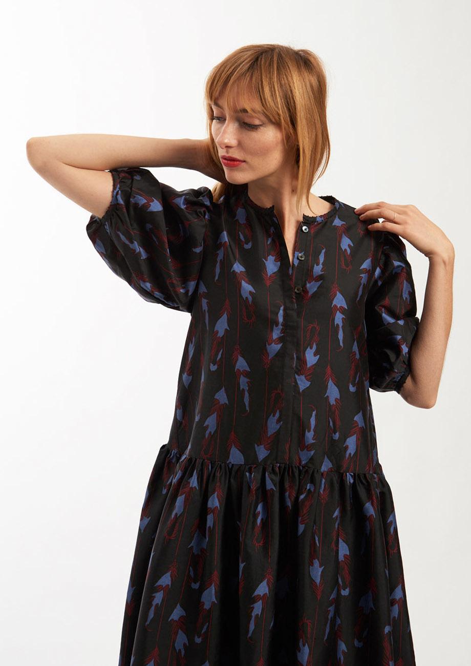 MINI SILK DRESS - FEATHERS BLACK-1