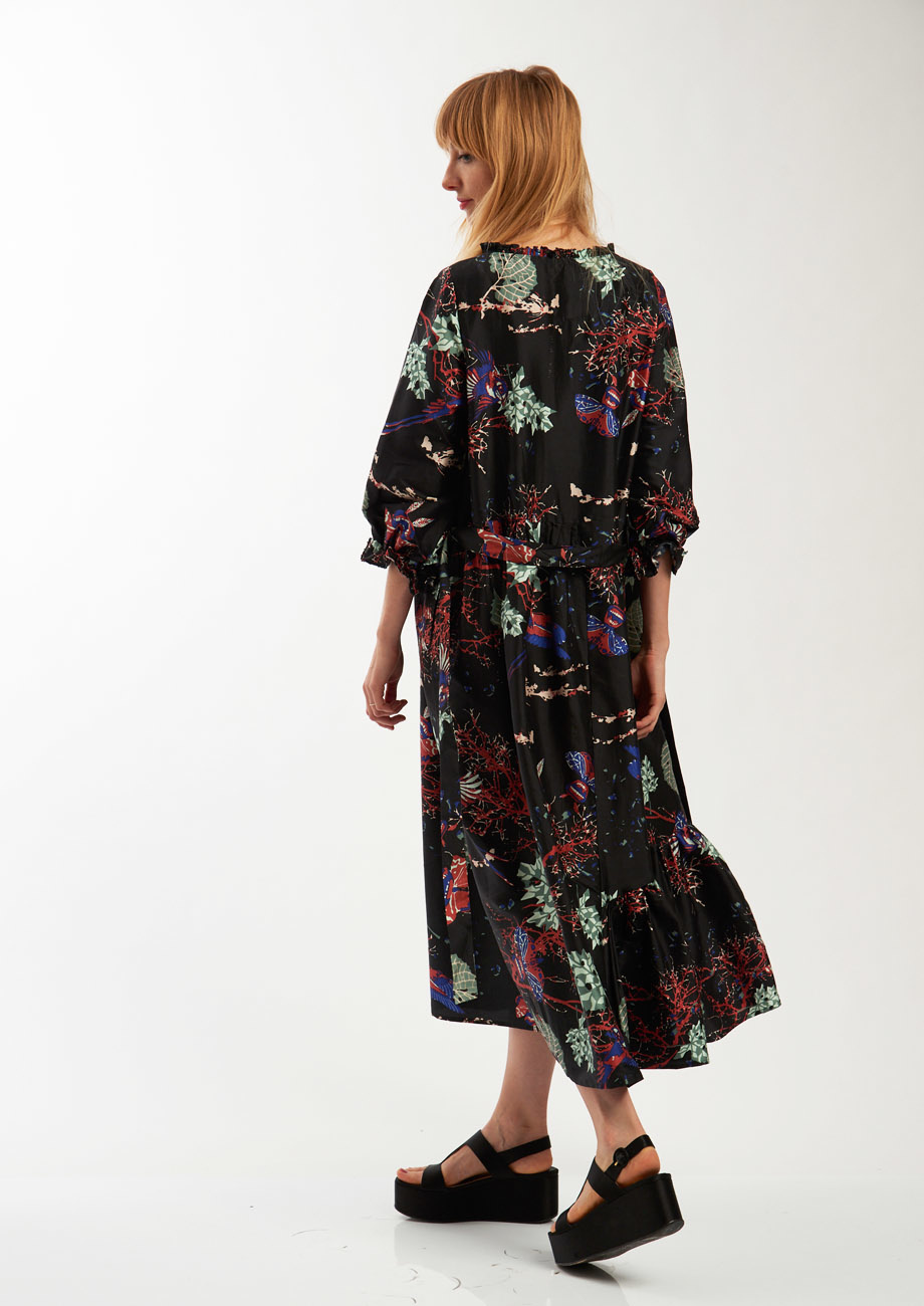 COCKTAIL SILK DRESS - BRANCHES BLACK-4