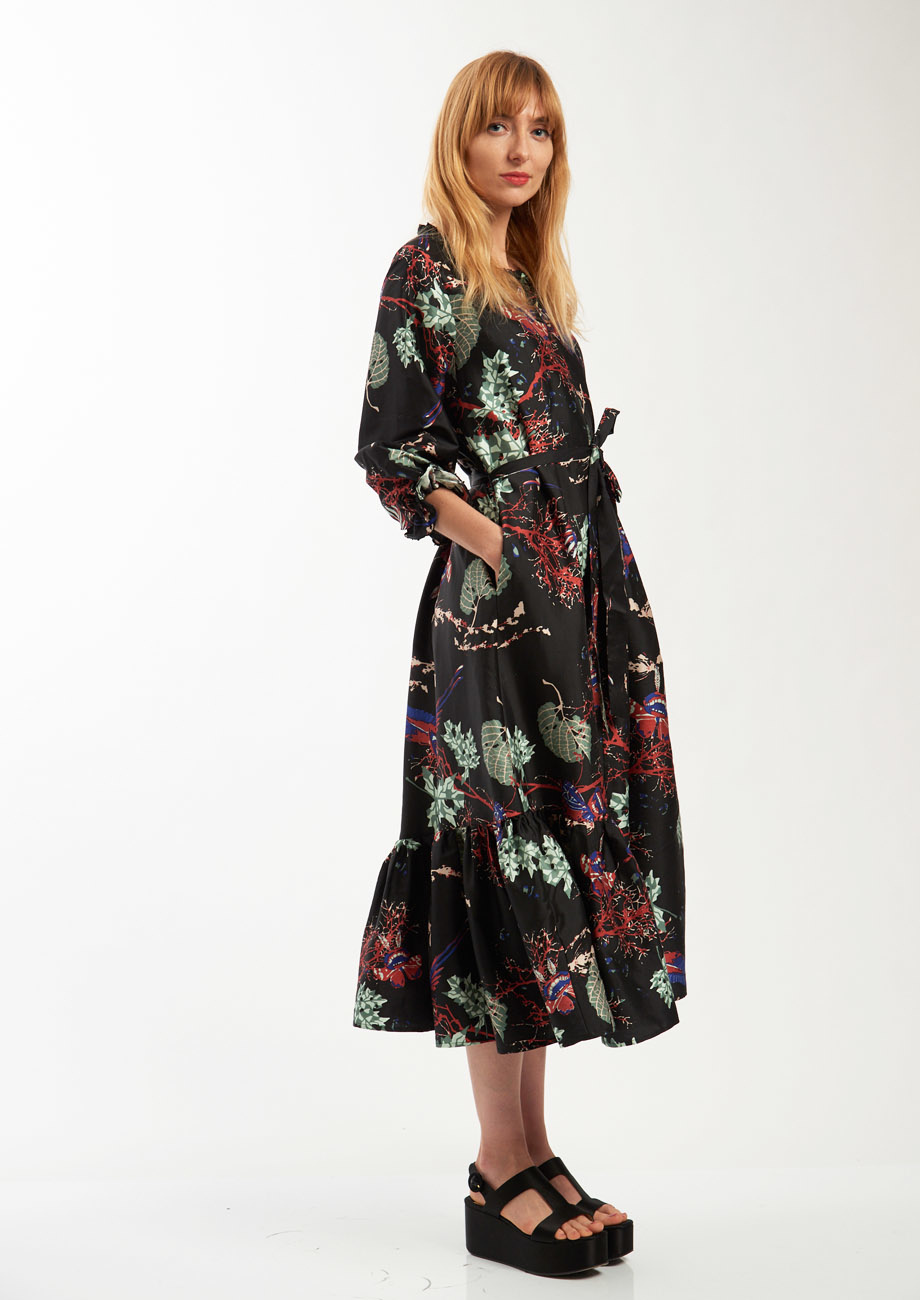 COCKTAIL SILK DRESS - BRANCHES BLACK-3