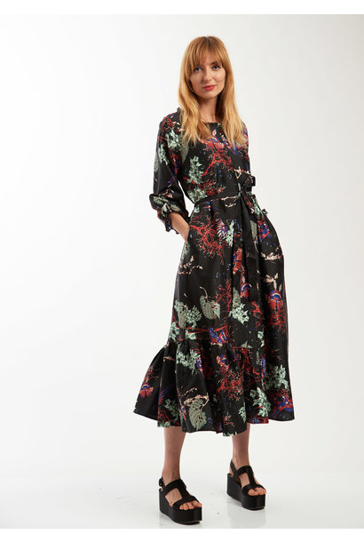 COCKTAIL SILK DRESS - BRANCHES BLACK
