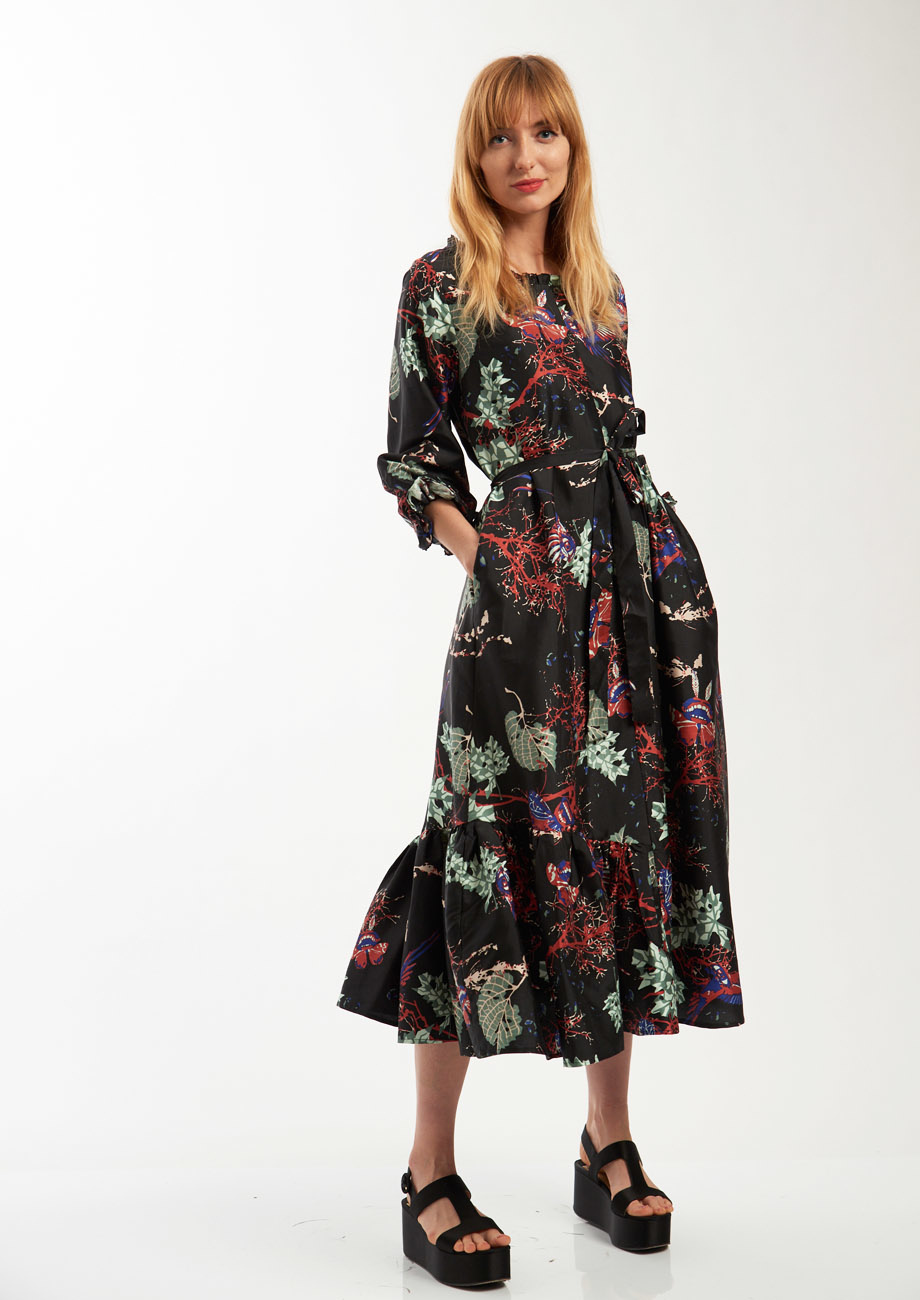 COCKTAIL SILK DRESS - BRANCHES BLACK-1