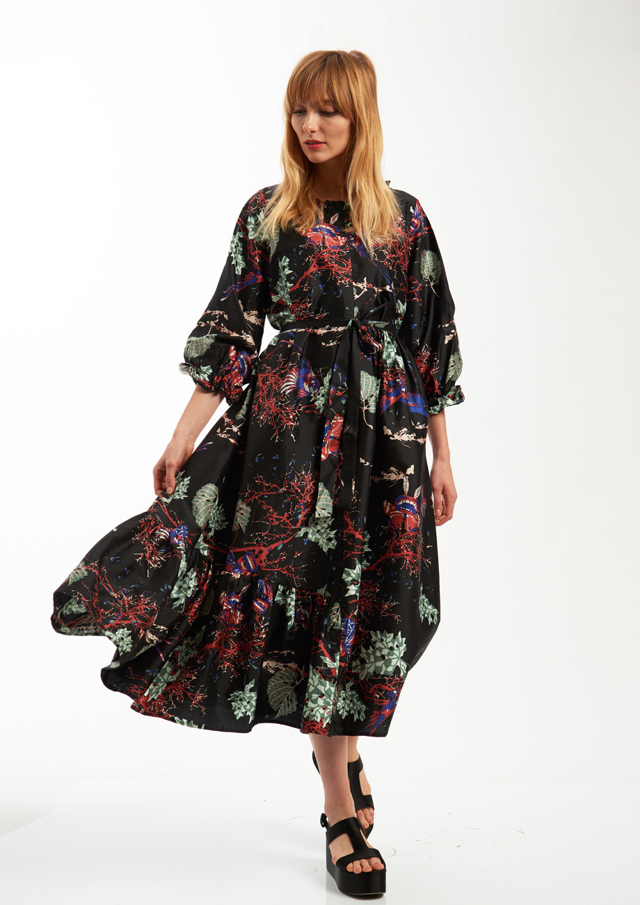 COCKTAIL SILK DRESS - BRANCHES BLACK-5