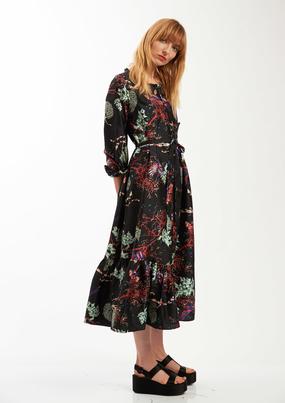 COCKTAIL SILK DRESS - BRANCHES BLACK-6