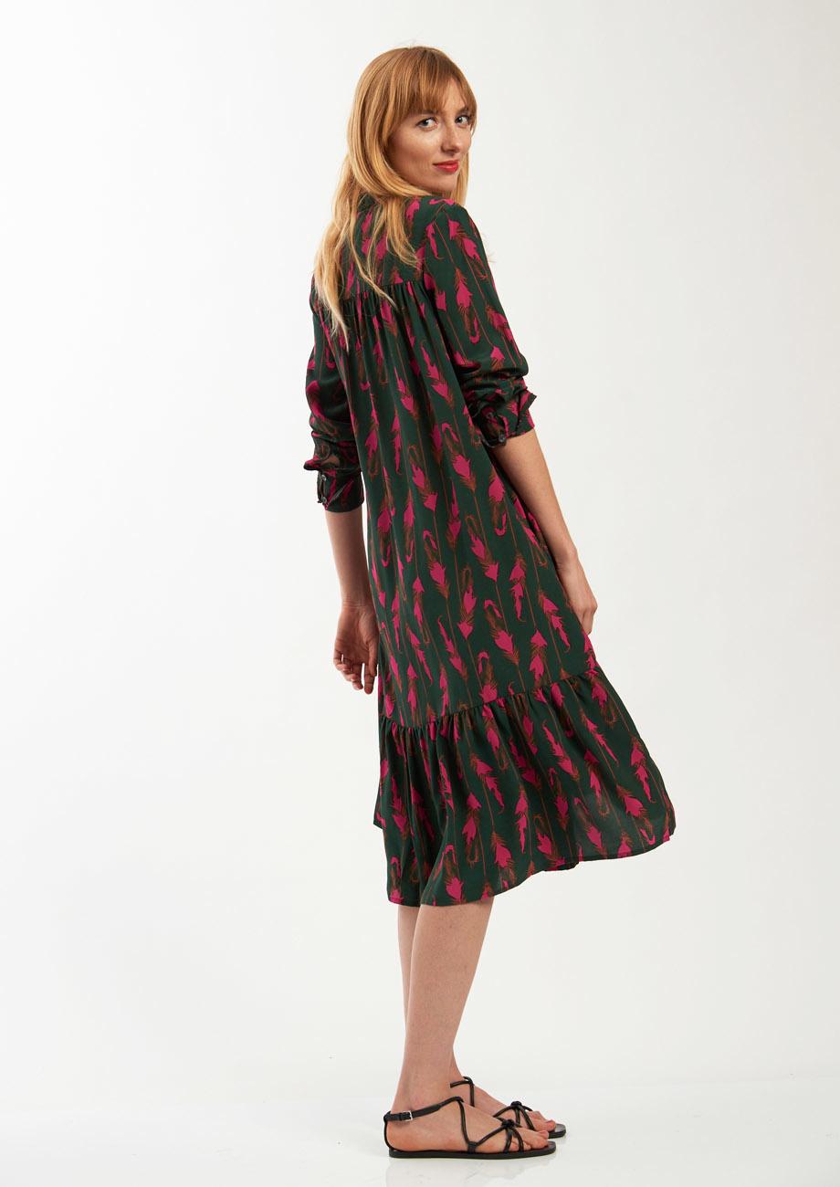 FAVORITE SILK DRESS SHORT - FEATHER FOREST-3