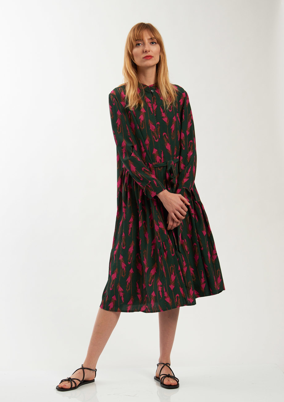 FAVORITE SILK DRESS SHORT - FEATHER FOREST-4