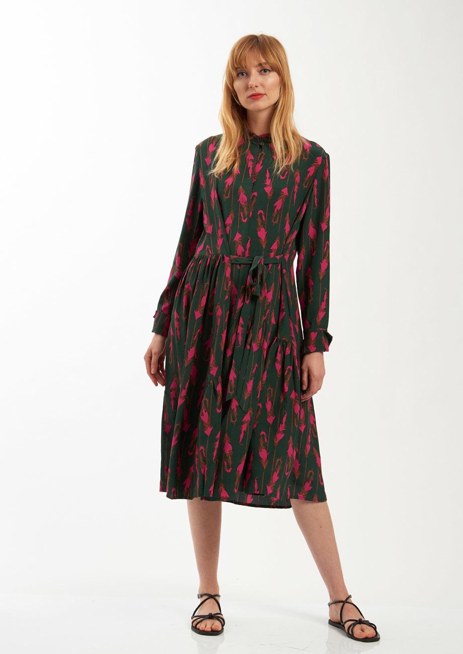 FAVORITE SILK DRESS SHORT - FEATHER FOREST-5