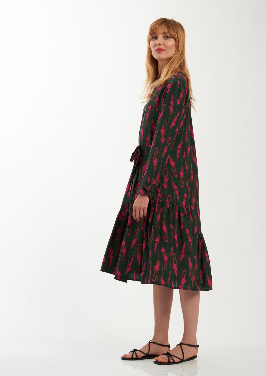 FAVORITE SILK DRESS SHORT - FEATHER FOREST-6