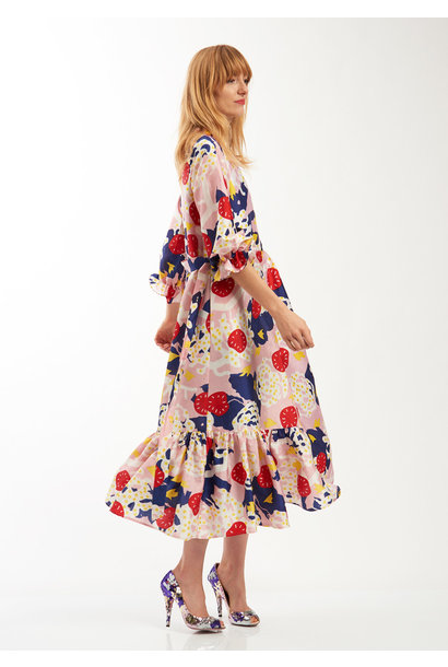 COCKTAIL SEIDENKLEID - MULTICOLOR
