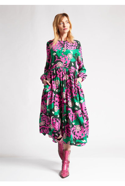 LONG SILK DRESS - FLOWERS GREEN PINK