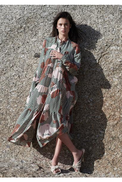 LONG WIDE SILK DRESS - STRIPES RETRO