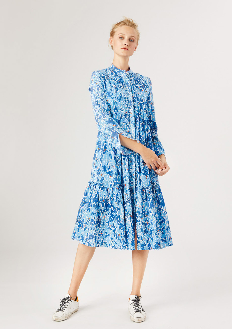 BASIC PLEATS DRESS - BLUE-1
