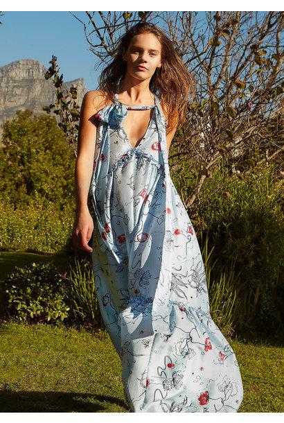 LONG SUMMER SILK DRESS - FLOWERS LIGHT BLUE