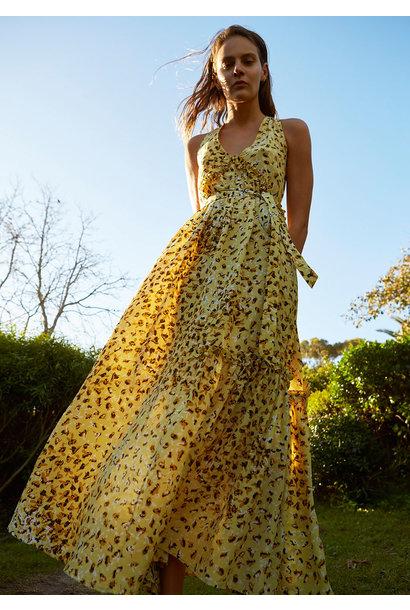 LONG SUMMER SILK DRESS - BEE YELLOW