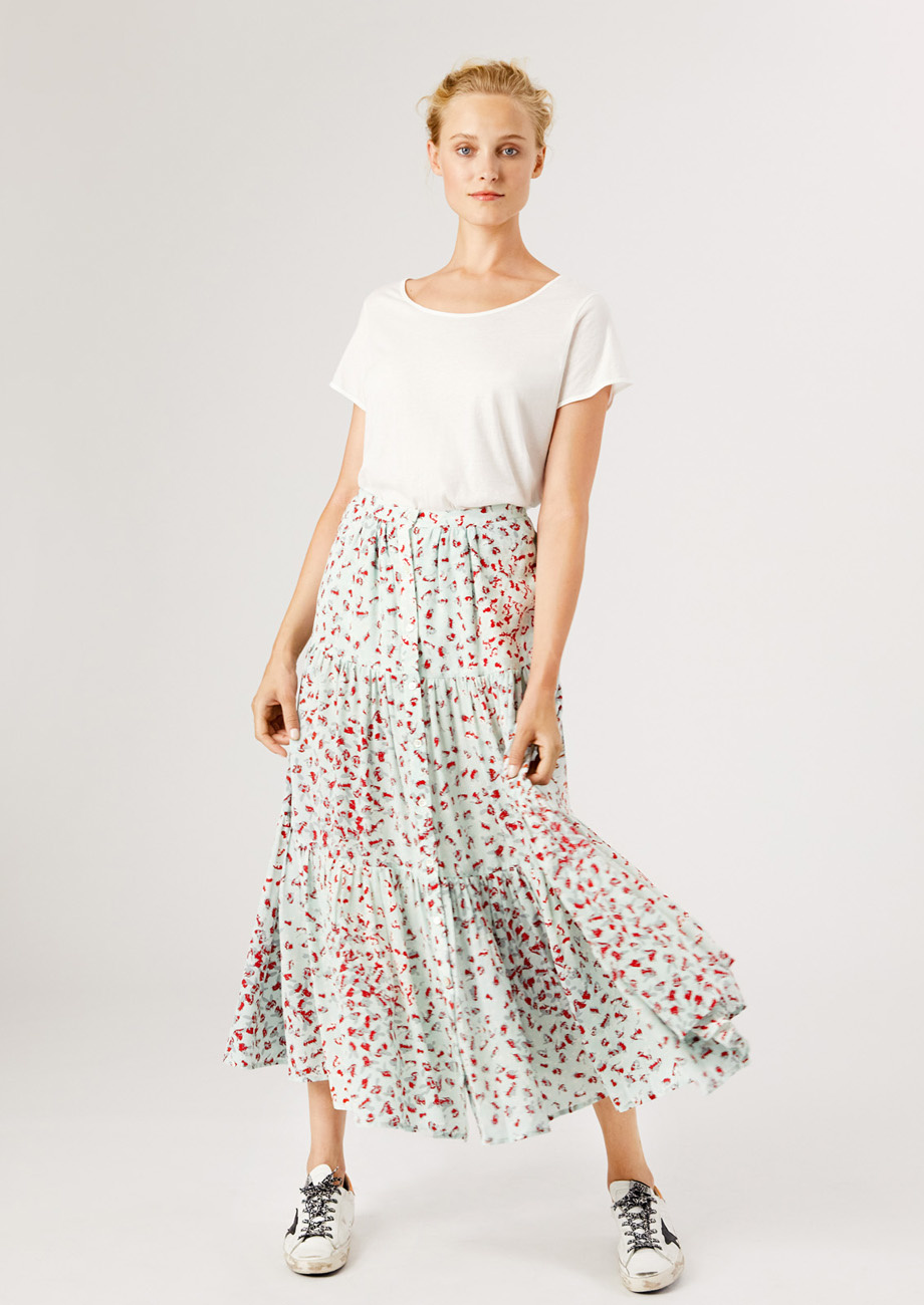 WIDE SKIRT WITH BUTTON PLACKET-1